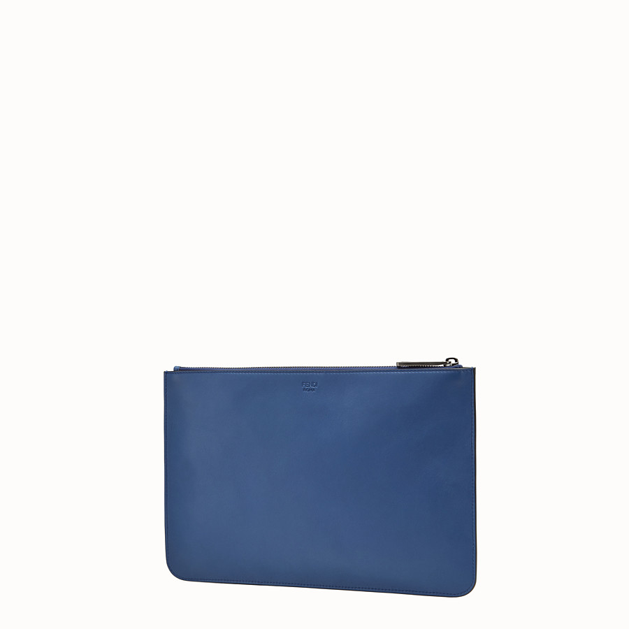 FENDI POUCH - Blue leather pouch with inlays - view 2 detail