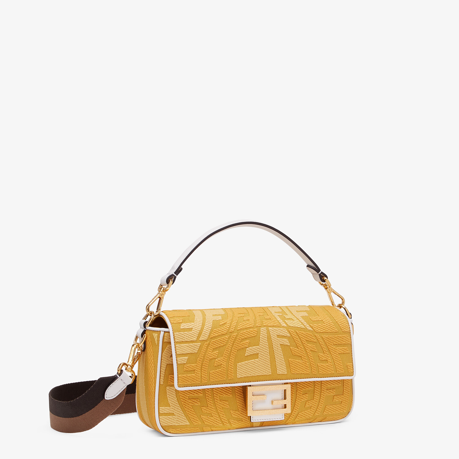 FENDI BAGUETTE - Embroidered yellow canvas bag - view 2 detail