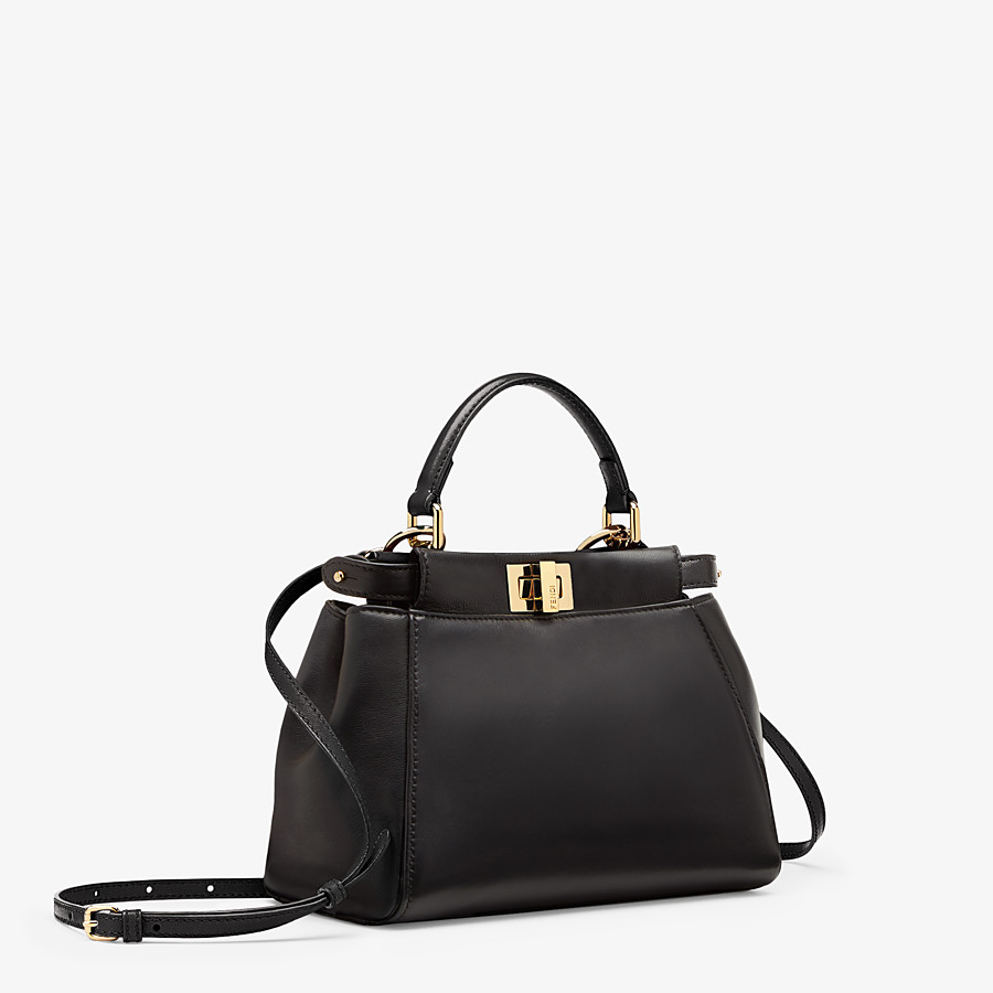 FENDI PEEKABOO ICONIC MINI - Black nappa leather bag - view 3 detail