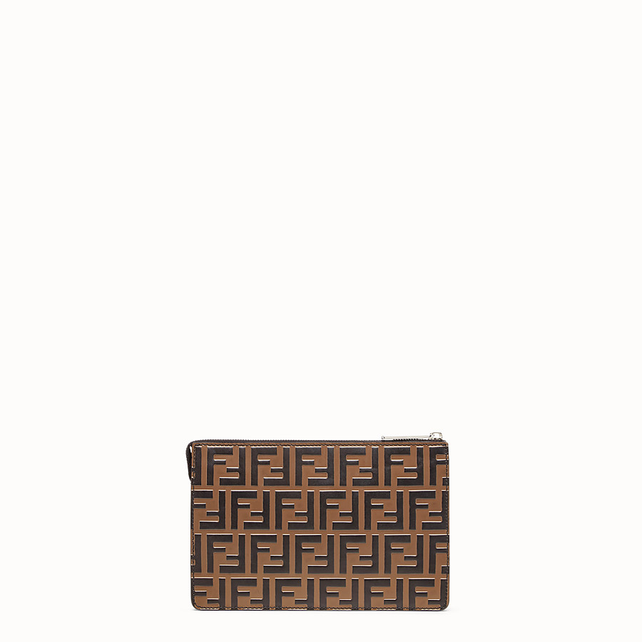 FENDI CLUTCH - Pochette aus Leder in Braun - view 3 detail