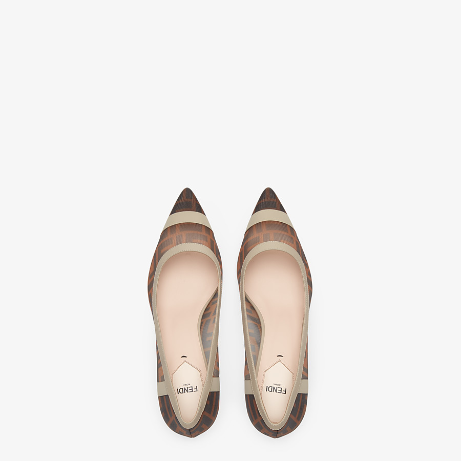 FENDI SLINGBACK - Escarpins en filet et cuir marron - view 4 detail