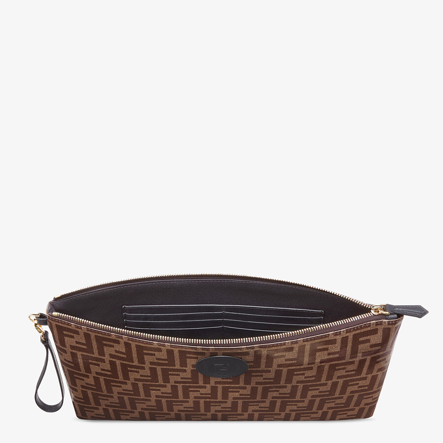 FENDI LARGE FLAT POUCH - Brown fabric pouch - view 3 detail