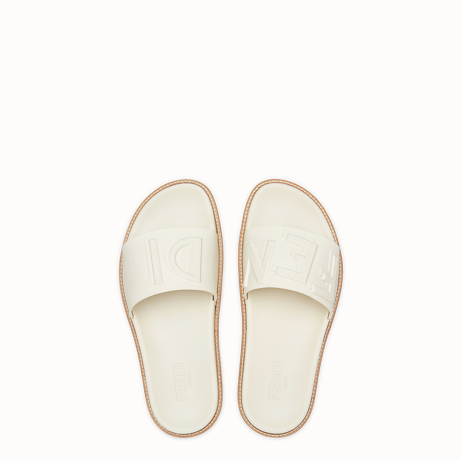 FENDI SLIDES - White rubber slides - view 4 detail