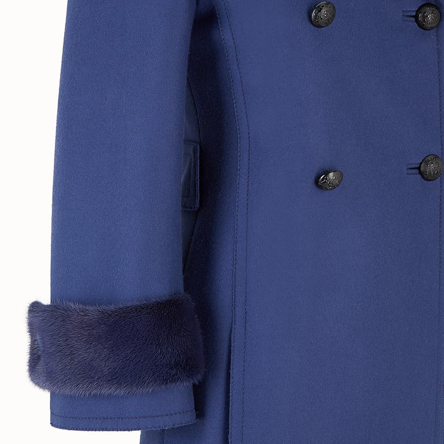 FENDI OVERCOAT - Blue wool overcoat - view 3 detail
