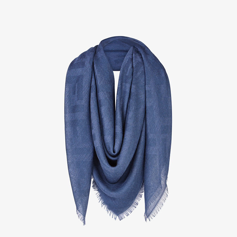 FENDI FF SHAWL - Blue cashmere and viscose shawl - view 2 detail