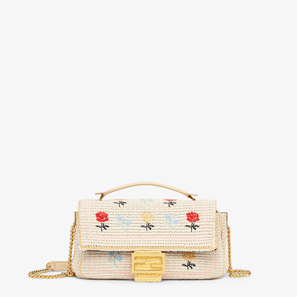 White embroidered cotton bag