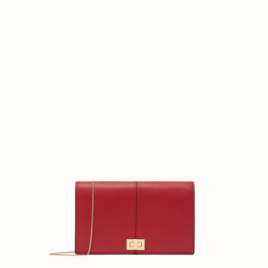 FENDI WALLET ON CHAIN - Minibag in pelle rossa - vista 1 dettaglio
