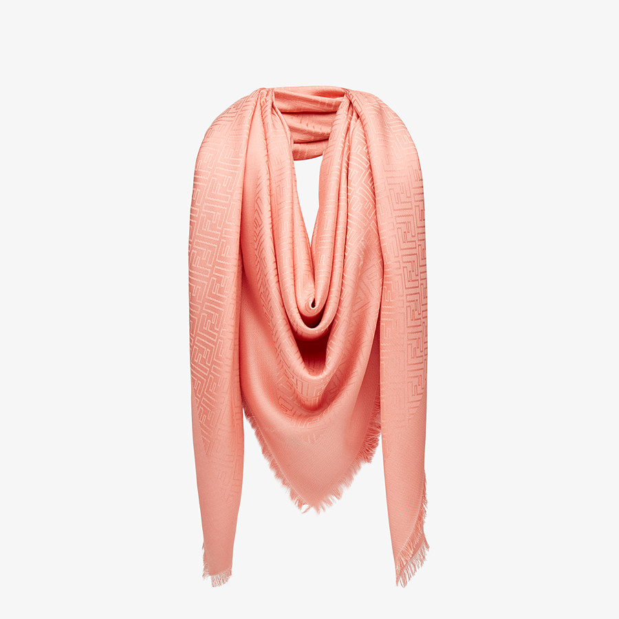 FENDI FF SHAWL - Shawl in pink wool and silk - view 2 detail
