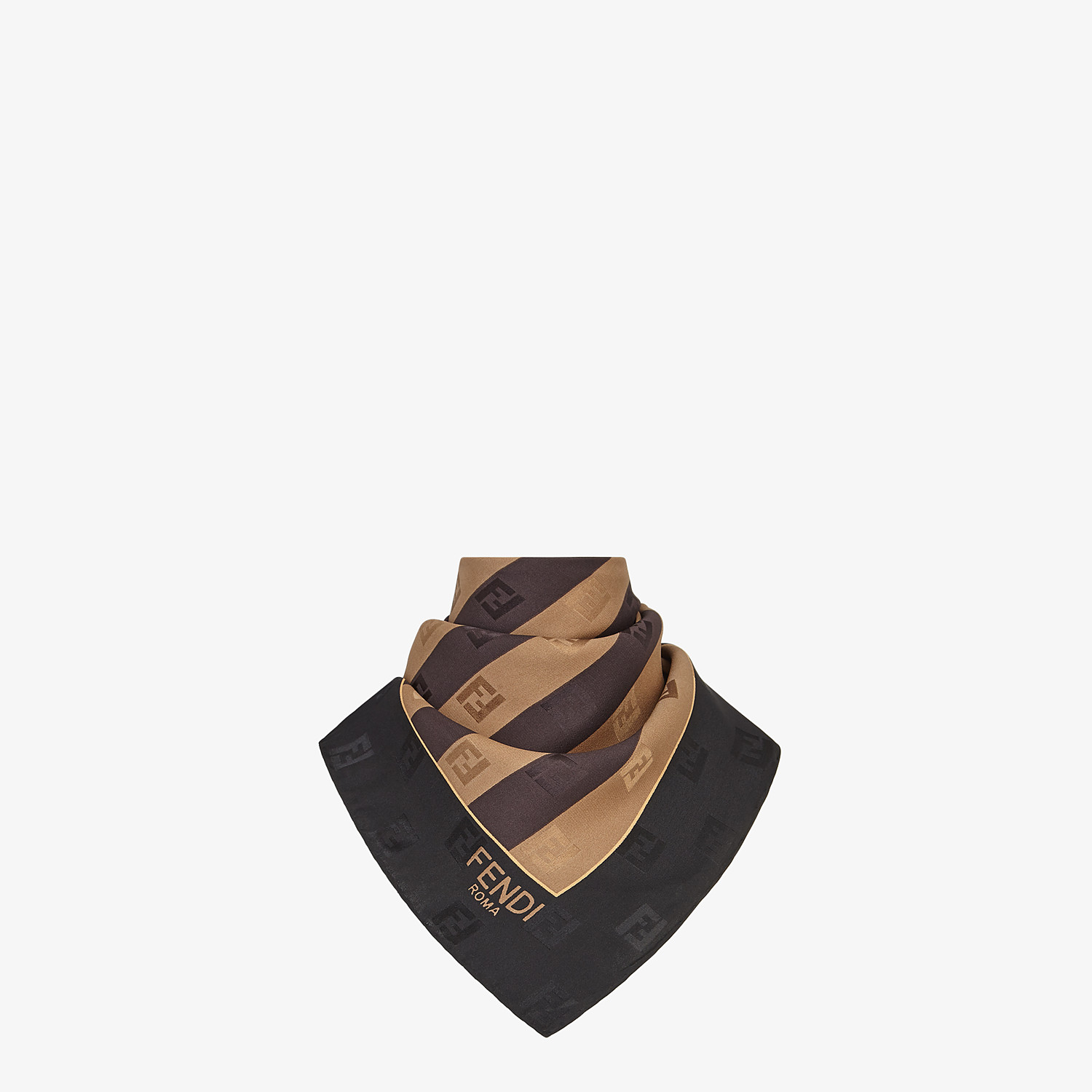 FENDI PEQUIN FOULARD - Brown silk foulard - view 2 detail