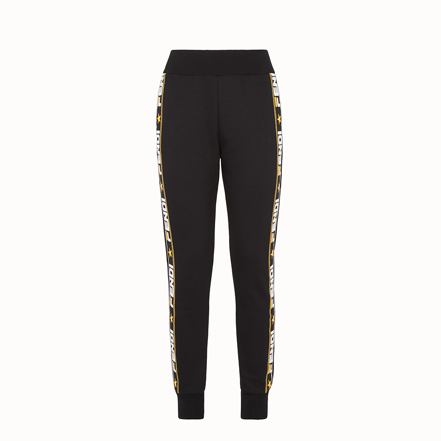 FENDI TROUSERS - Black fabric tracksuit trousers - view 1 detail