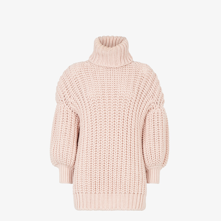 FENDI SWEATER - Pink wool sweater - view 1 detail