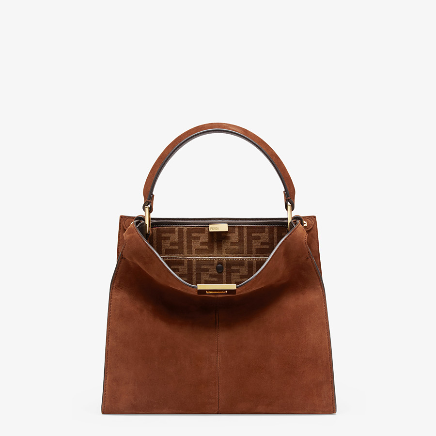 FENDI PEEKABOO X-LITE MEDIUM - Borsa in suede marrone - vista 3 dettaglio
