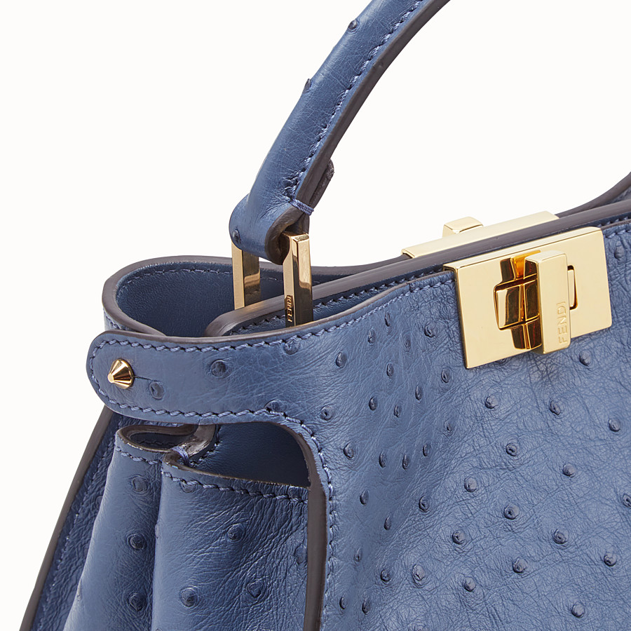 FENDI PEEKABOO ICONIC ESSENTIALLY - Blue ostrich leather bag - view 5 detail