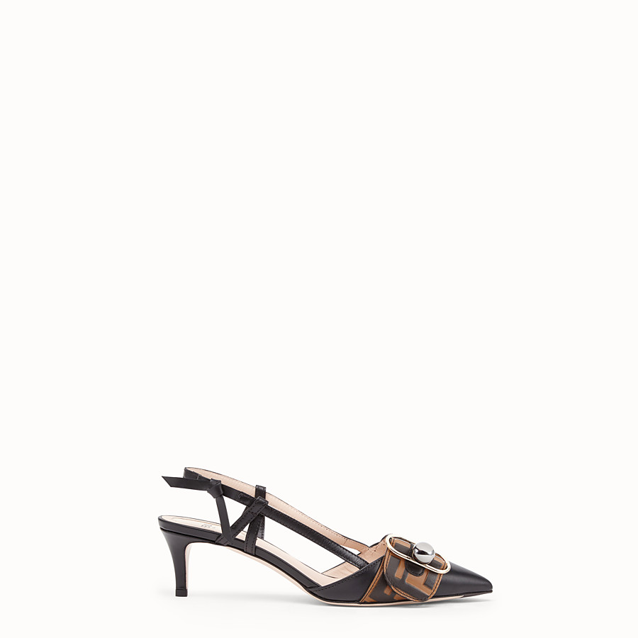 FENDI COURT SHOES - Black leather slingbacks - view 1 detail