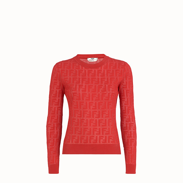 FENDI JUMPER - Red cotton jumper - view 1 small thumbnail