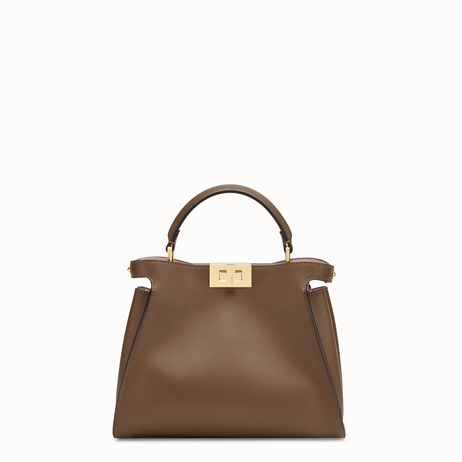 FENDI PEEKABOO ESSENTIALLY - Borsa in pelle marrone - vista 1 dettaglio