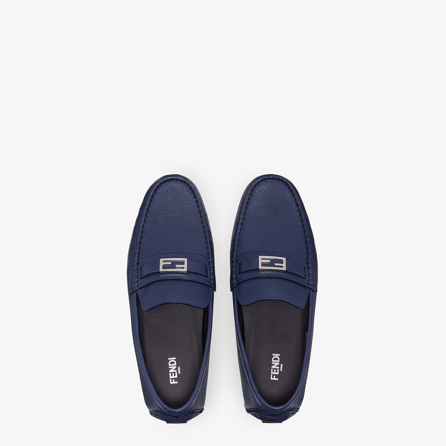 FENDI LOAFERS - Blue leather drivers - view 4 detail