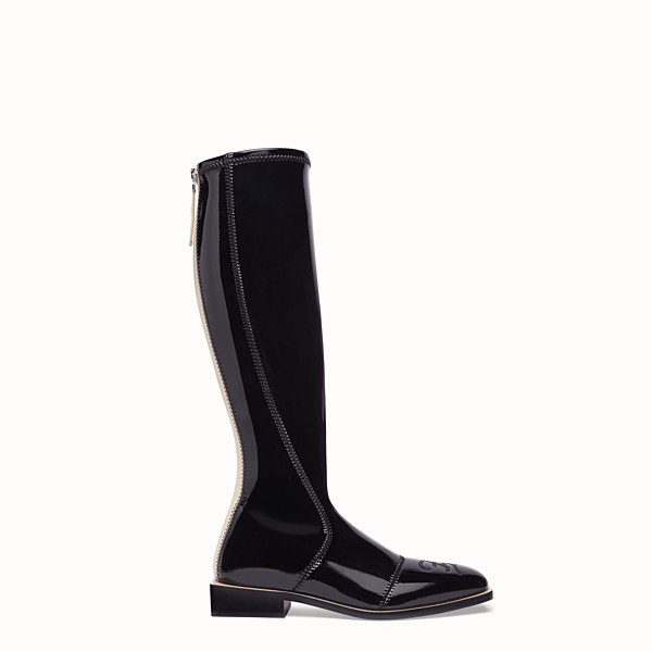 FENDI BOOTS - Glossy black neoprene boots - view 1 small thumbnail