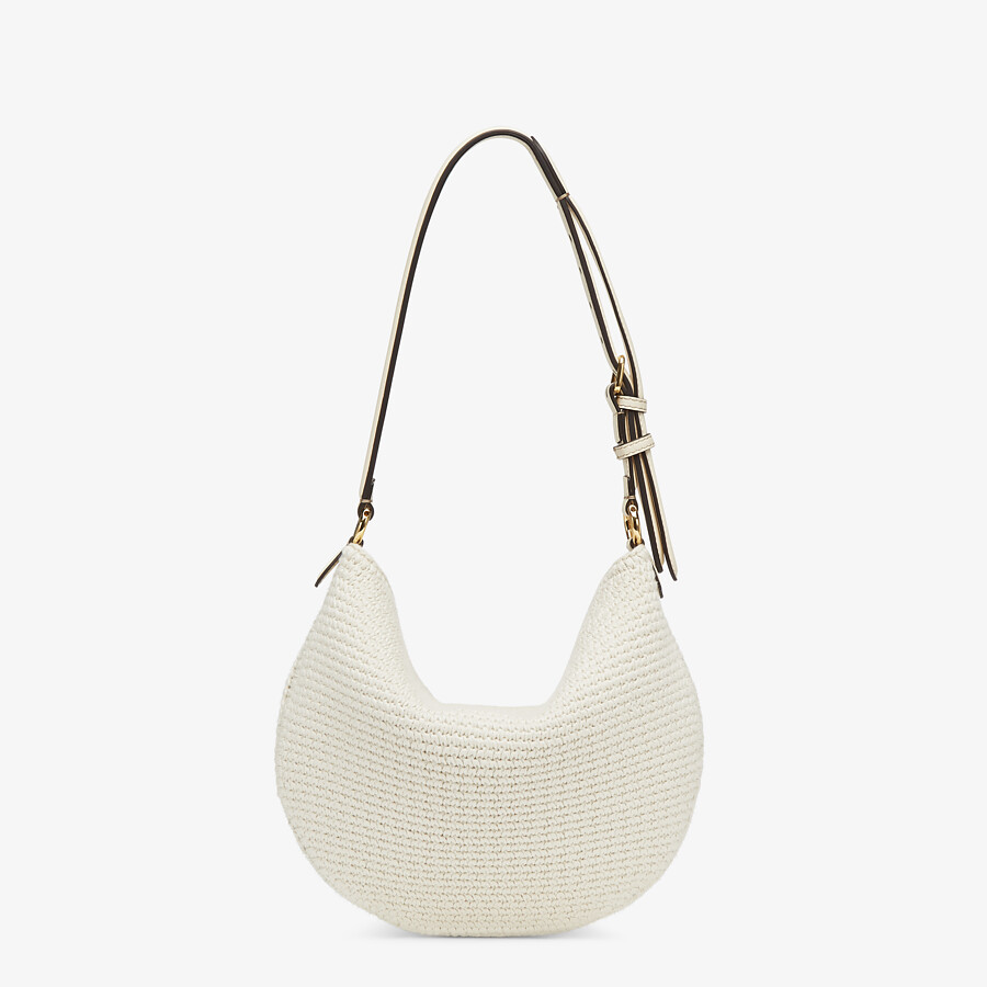 FENDI SMALL CROISSANT - White cotton bag - view 4 detail