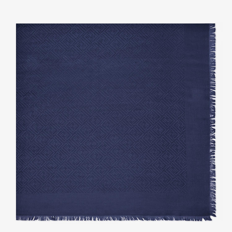 FENDI SCIALLE FF - Scialle in seta e lana blu - vista 1 dettaglio