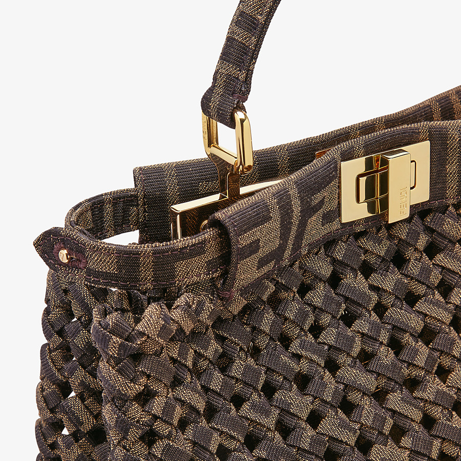 FENDI PEEKABOO ICONIC MINI - Jacquard fabric interlace bag - view 6 detail