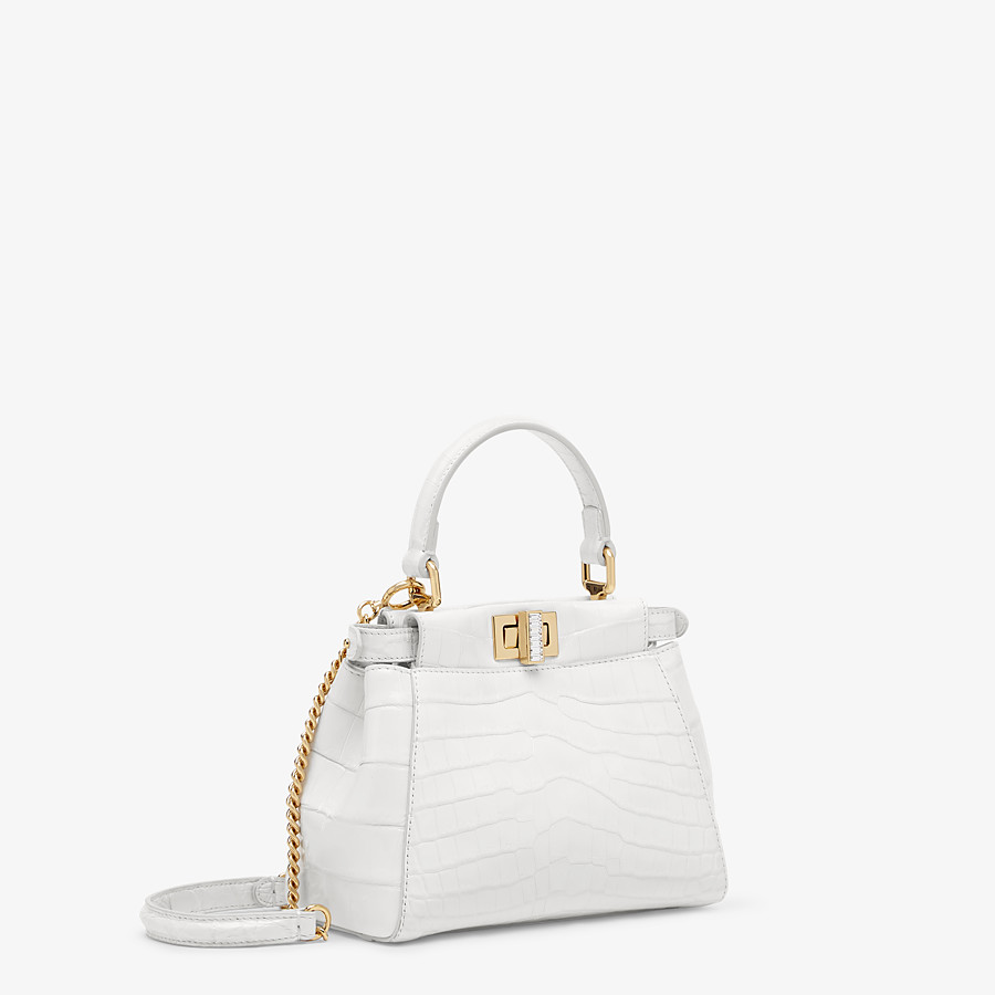 FENDI PEEKABOO ICONIC XS - Mini-bag in white crocodile - view 2 detail