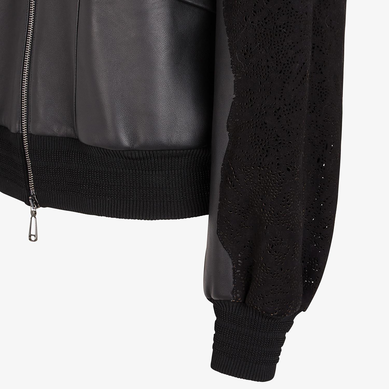 FENDI JACKET - Black leather bomber - view 3 detail