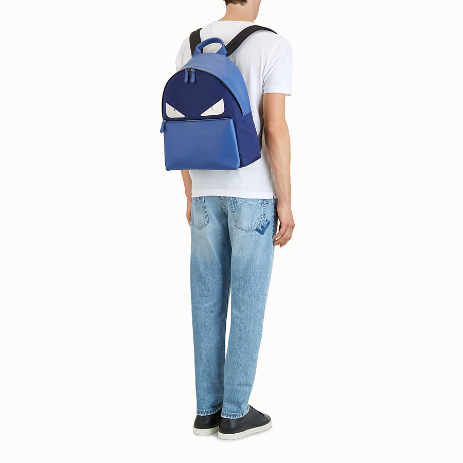 FENDI BAG BUGS BACKPACK - Fabric and blue leather backpack - view 5 detail
