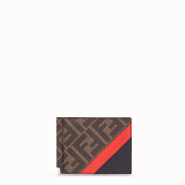 FENDI CARD HOLDER - Brown fabric money clip - view 1 small thumbnail