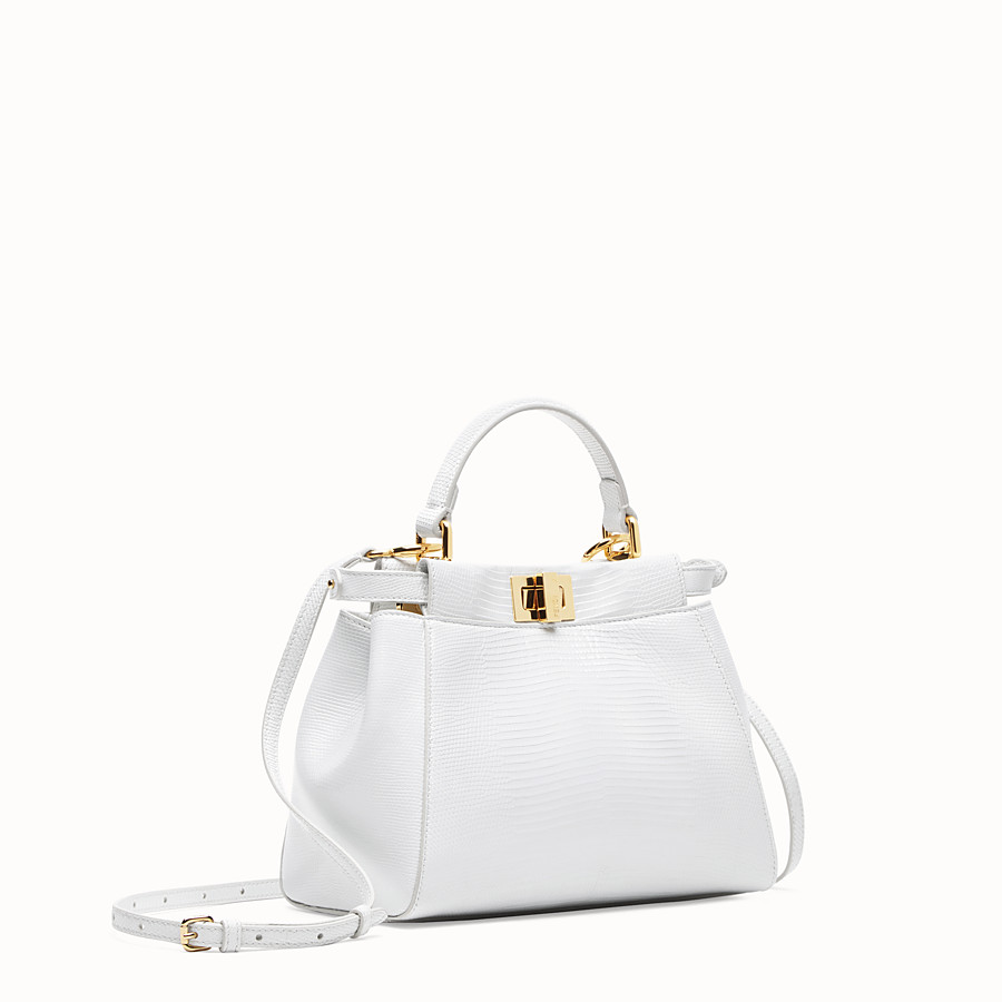 FENDI PEEKABOO ICONIC MINI - White lizard skin bag - view 3 detail