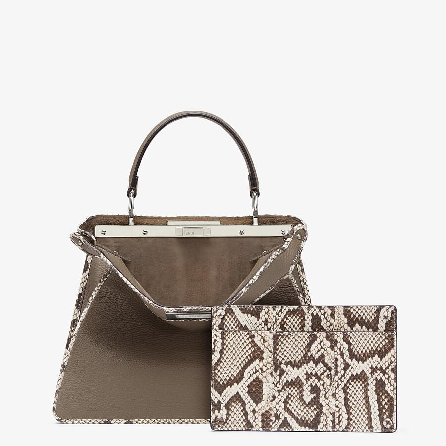 FENDI PEEKABOO ISEEU MEDIUM - Gray full grain leather and elaphe bag - view 4 detail