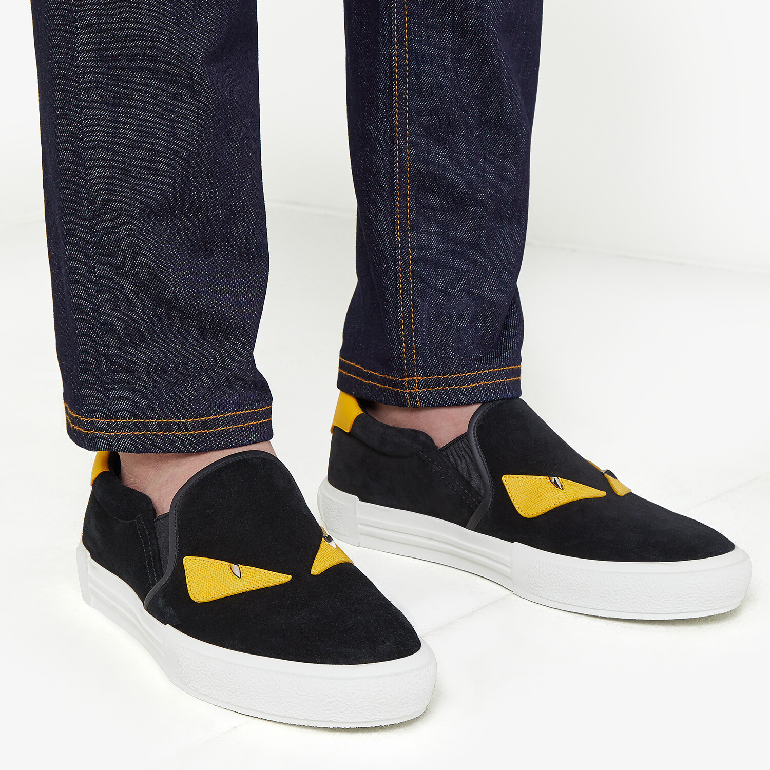 FENDI SNEAKER - Black leather slip-on - view 5 detail