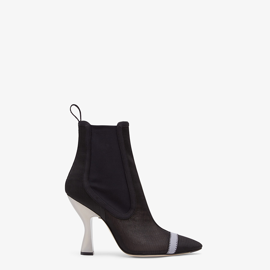 FENDI ANKLE BOOTS - Black mesh booties - view 1 detail