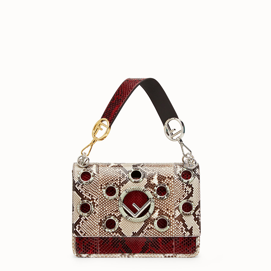 FENDI KAN I F - White and dark red python bag - view 1 detail