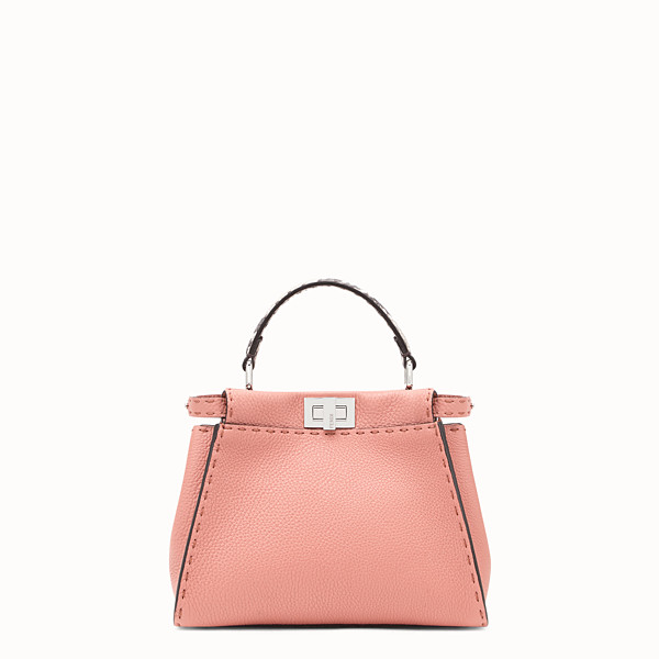 FENDI PEEKABOO MINI - Pink leather bag with exotic details - view 1 small thumbnail