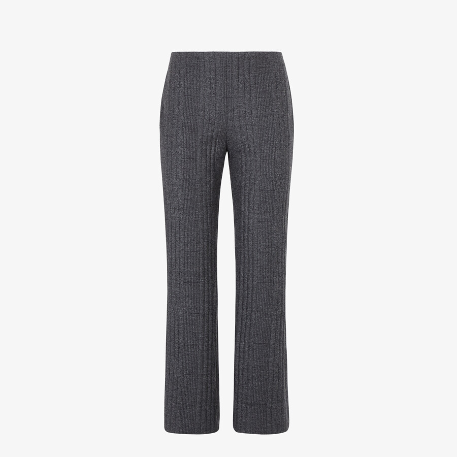 FENDI TROUSERS - Grey cashmere and flannel trousers - view 1 detail