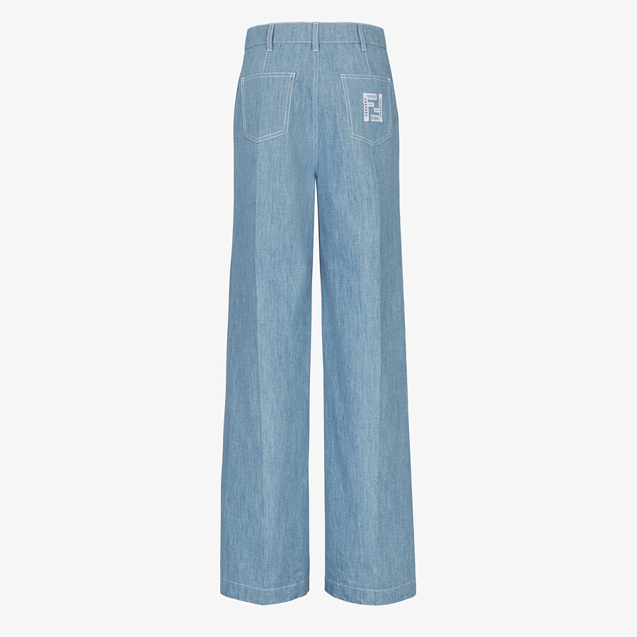 FENDI TROUSERS - Light blue chambray trousers - view 2 detail