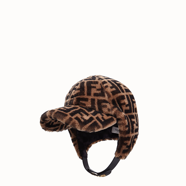 FENDI CHAPEAU - Chapeau en peau de mouton marron - view 1 small thumbnail