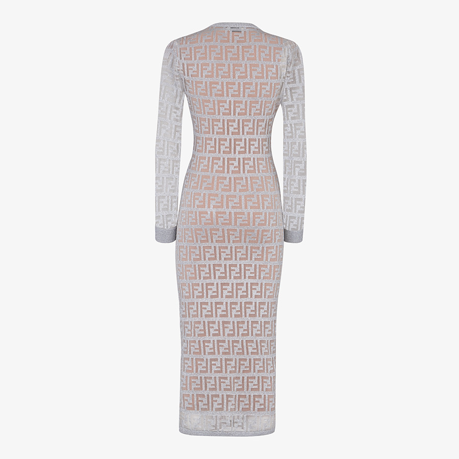 FENDI DRESS - Silver knitted dress - view 2 detail