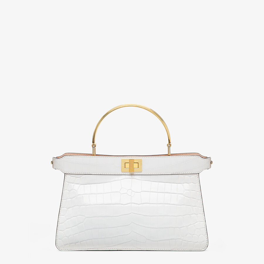 FENDI PEEKABOO ISEEU EAST-WEST - White crocodile leather bag - view 1 detail