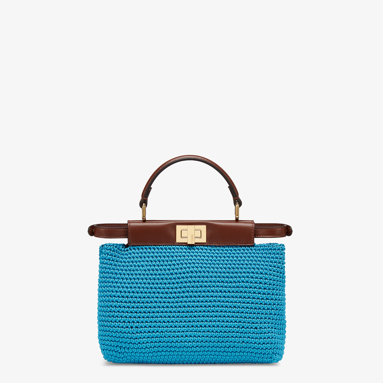 FENDI PEEKABOO MINI - Blue cotton crochet bag - view 3 detail