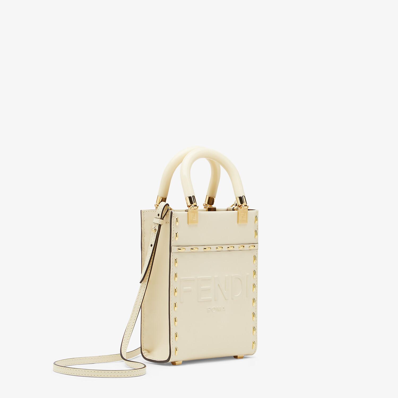 FENDI MINI SUNSHINE SHOPPER - White leather mini bag - view 2 detail