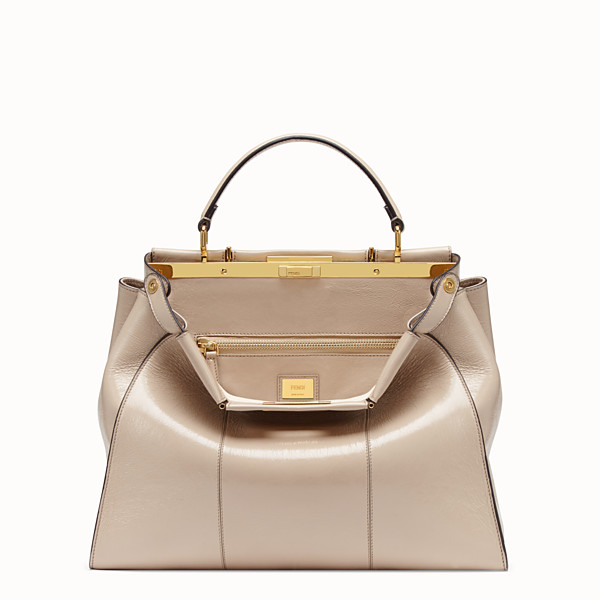 FENDI PEEKABOO ICONIC LARGE - Sac en cuir beige - view 1 small thumbnail