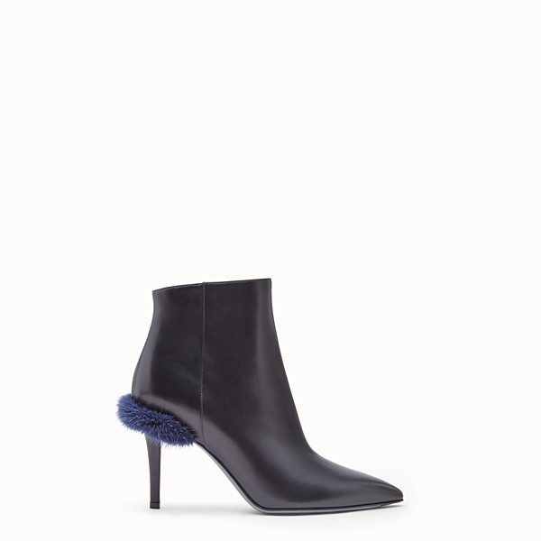 FENDI TRONCHETTO - Ankle boot in pelle nera - vista 1 thumbnail piccola