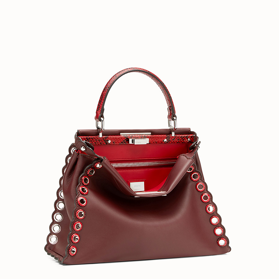 FENDI PEEKABOO REGULAR - Exotic burgundy leather bag - view 2 detail