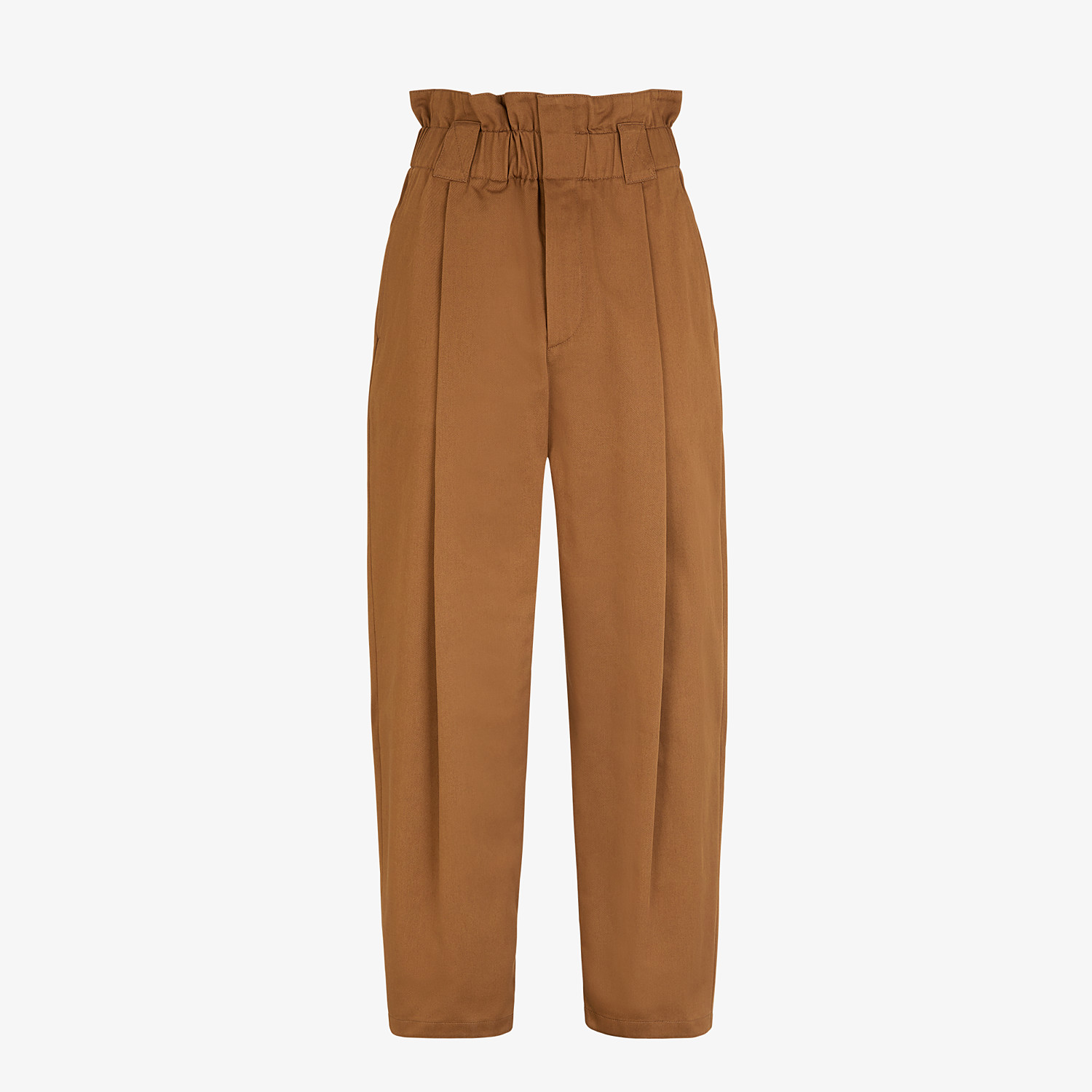 FENDI PANTS - Brown gabardine pants - view 1 detail