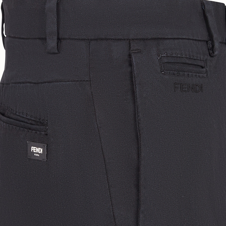FENDI PANTS - Black cotton pants - view 3 detail