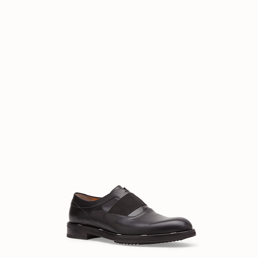 FENDI OXFORD SHOES - Black leather slip-ons - view 2 detail