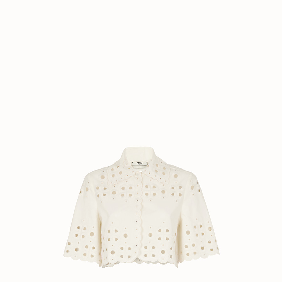FENDI JACKET - White cotton cape - view 1 detail