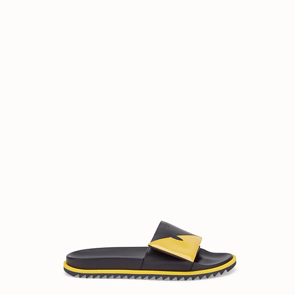 FENDI SLIDE - Fussbett in pelle nera - vista 1 thumbnail piccola